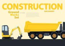 O grupo amarelo do catálogo de terra trabalha veículos A construção faz à máquina o equipamento ilustração royalty free