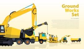 O grupo amarelo do catálogo de terra trabalha veículos A construção faz à máquina o equipamento ilustração stock