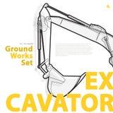 O grupo amarelo e alaranjado da máquina escavadora - da tipografia de terra trabalha veículos das máquinas ilustração stock