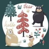 O grupo bonito do inverno carrega, coelho, cogumelo, arbustos, plantas, neve Imagens de Stock