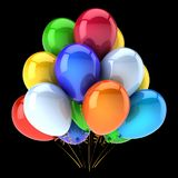 O grupo colorido do aniversário dos balões party a decoração colorido Ilustração Royalty Free