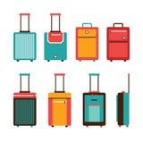 O grupo colorido do ícone do saco do curso continua a coleção da bagagem Fotos de Stock Royalty Free
