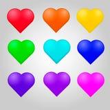 O grupo colorido do coração com coração isolado objeta por feriados Fotografia de Stock Royalty Free