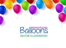 O grupo colorido do feliz aniversario Balloons o fundo do vetor ilustração royalty free