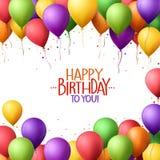 O grupo colorido do feliz aniversario Balloons o voo para o partido Imagem de Stock
