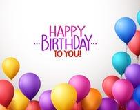 O grupo colorido do feliz aniversario Balloons o voo para o partido Fotos de Stock Royalty Free