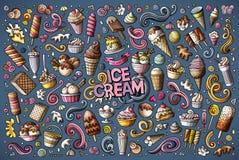 O grupo colorido dos desenhos animados da garatuja do vetor de gelado objeta ilustração do vetor
