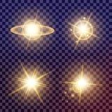 O grupo criativo do vetor do conceito de estrelas do efeito da luz do fulgor estoura com os sparkles isolados Imagem de Stock