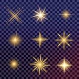 O grupo criativo do vetor do conceito de estrelas do efeito da luz do fulgor estoura com os sparkles isolados Fotografia de Stock