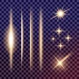 O grupo criativo do vetor do conceito de estrelas do efeito da luz do fulgor estoura com os sparkles isolados Fotos de Stock Royalty Free