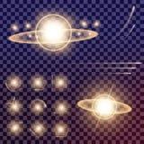 O grupo criativo do vetor do conceito de estrelas do efeito da luz do fulgor estoura com os sparkles isolados Imagem de Stock Royalty Free