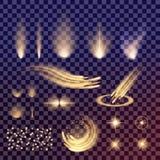 O grupo criativo do vetor do conceito de estrelas do efeito da luz do fulgor estoura com os sparkles isolados Fotografia de Stock Royalty Free