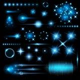 O grupo criativo do vetor do conceito de estrelas do efeito da luz do fulgor estoura com os sparkles isolados no fundo preto Fotos de Stock Royalty Free