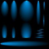 O grupo criativo do vetor do conceito de estrelas do efeito da luz do fulgor estoura com os sparkles isolados no fundo preto Imagens de Stock
