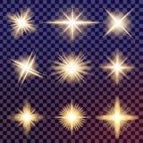 O grupo criativo do vetor do conceito de estrelas do efeito da luz do fulgor estoura com sparkles Foto de Stock Royalty Free