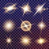 O grupo criativo do vetor do conceito de estrelas do efeito da luz do fulgor estoura com sparkles Imagens de Stock Royalty Free