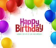o grupo 3d colorido realístico do feliz aniversario Balloons o fundo Imagem de Stock