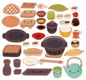 O grupo da coleção de mercadorias japoneses bonitos da cozinha rabisca Fotografia de Stock