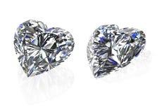 O grupo da forma do coração dos diamantes em white-3D rende Fotos de Stock