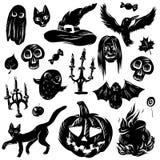 O grupo da ilustração do vetor de desenhos animados classificou acessórios gato preto de Dia das Bruxas, bastão, fantasma, coruja ilustração royalty free