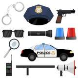 O grupo da polícia Algemas, tampão, símbolo da polícia, carro de polícia, bastão, altifalante, Walkietalkie ilustração stock