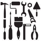 O grupo da silhueta de ferramentas martela, alicates, uma faca de massa de vidraceiro, serra, chave de fenda Foto de Stock