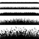 O grupo da silhueta de grama limita o vetor Imagens de Stock