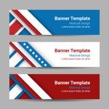O grupo das bandeiras horizontais do vetor moderno, encabeçamentos de página com listras e protagoniza nas cores da bandeira amer Imagem de Stock