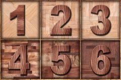 O grupo das impressoras de madeira datilografa um a seis Fotos de Stock Royalty Free