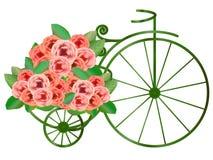 O grupo das rosas entrega a bicicleta do vintage Fotografia de Stock
