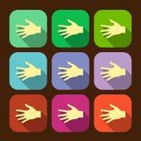 O grupo de ícone liso do vetor entrega o eps Fotografia de Stock
