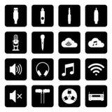 O grupo de ícone sadio e conecta o símbolo em fundos pretos Vetor liso Fotos de Stock Royalty Free