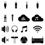 O grupo de ícone sadio e conecta o símbolo Vetor liso Fotos de Stock