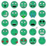 O grupo de ícones ajustados do sorriso do emoji da emoção sorri para a Web Fotos de Stock Royalty Free