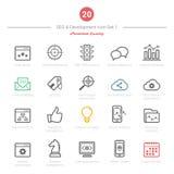 O grupo de ícones corajosos do curso SEO e do desenvolvimento ajustou 1 Imagens de Stock