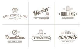 O grupo de ícones da construção da construção do vetor dirige e o reparo pode ser usado como o logotipo Fotografia de Stock