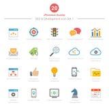 O grupo de ícones da cor completa SEO e do desenvolvimento ajustou 1 Fotografia de Stock