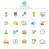 O grupo de ícones da cor completa SEO e do desenvolvimento ajustou 2 Fotografia de Stock Royalty Free