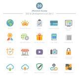 O grupo de ícones da cor completa SEO e do desenvolvimento ajustou 3 Fotos de Stock