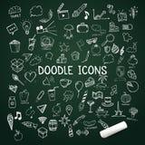 O grupo de ícones da garatuja, vector objetos desenhados à mão com giz Fotografia de Stock Royalty Free
