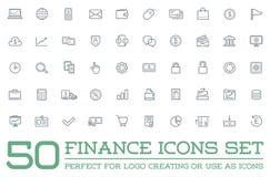 O grupo de ícones do dinheiro da finança do vetor e de pagamentos e de ricos da renda pode ser usado como o logotipo Foto de Stock