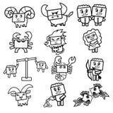 O grupo de ícones do vetor do zodíaco assina Imagens de Stock