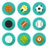 O grupo de ícones lisos ostenta bolas e bolas ilustração royalty free