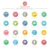 O grupo de ícones longos redondos da sombra SEO e do desenvolvimento ajustou 1 Imagens de Stock Royalty Free
