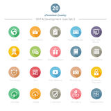 O grupo de ícones longos redondos da sombra SEO e do desenvolvimento ajustou 3 Foto de Stock