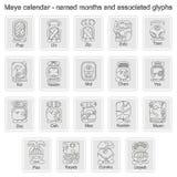 O grupo de ícones monocromáticos com calendário do Maya nomeou o mês e associou glyphs ilustração do vetor
