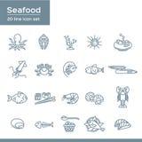 O grupo de alimento de mar relacionou os ícones do vetor, estilo liso com linha fina ícones do marisco da arte no backgroundn bra Imagens de Stock