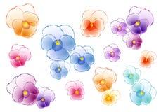 Pansies coloridos, grupo do vetor Fotografia de Stock Royalty Free