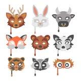 O grupo de animais dos desenhos animados party a ilustração do feriado do vetor das máscaras Fotografia de Stock