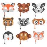 O grupo de animais dos desenhos animados party a ilustração do feriado do vetor das máscaras Imagens de Stock Royalty Free